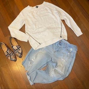 Express Distressed Torn White Sweater Medium